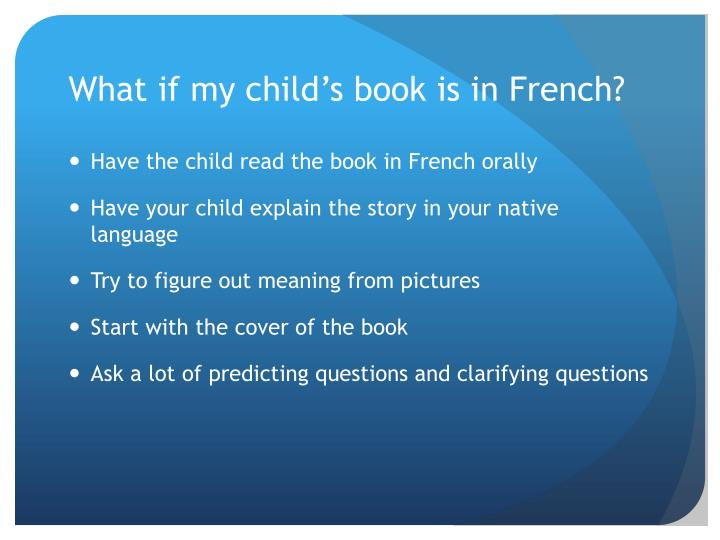 What if my child's book is in French?