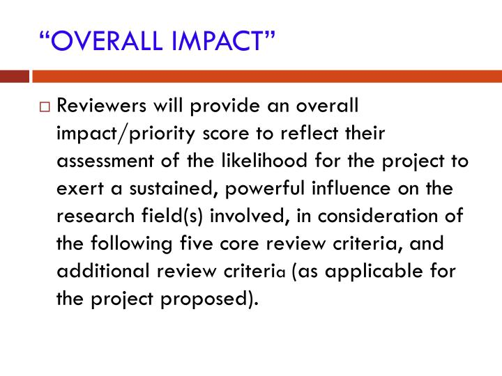 """OVERALL IMPACT"""