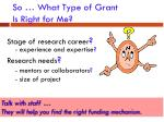 so what type of grant is right for me