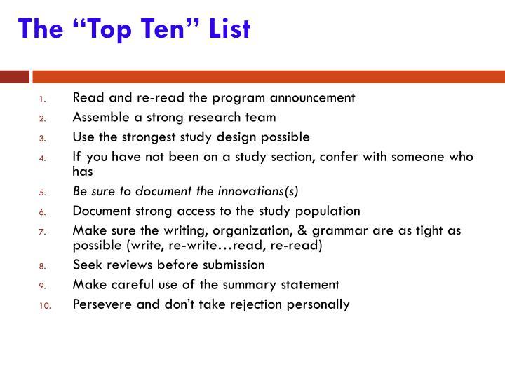 """The """"Top Ten"""" List"""