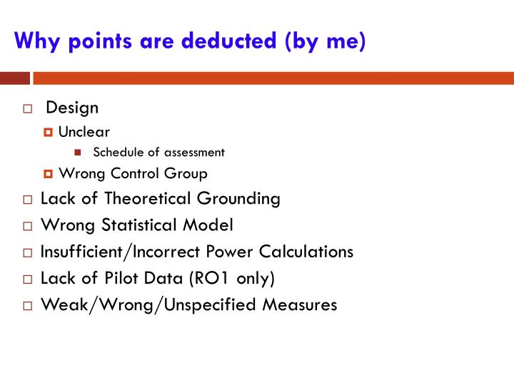 Why points are deducted (by me)