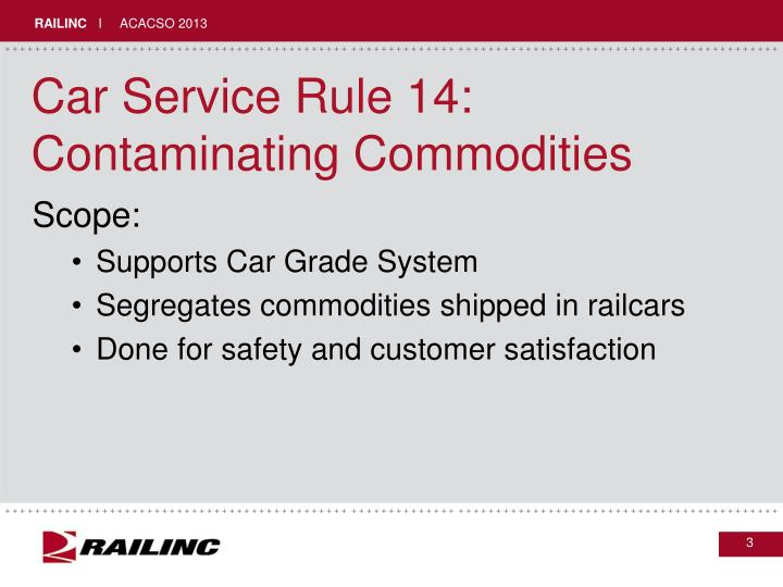 Car service rule 14 contaminating commodities