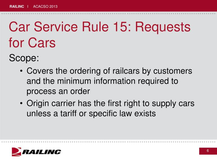 Car Service Rule 15: Requests for Cars