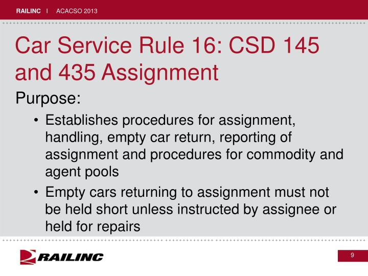 Car Service Rule 16: CSD 145 and 435 Assignment