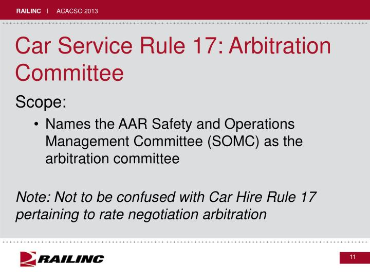 Car Service Rule 17: Arbitration Committee