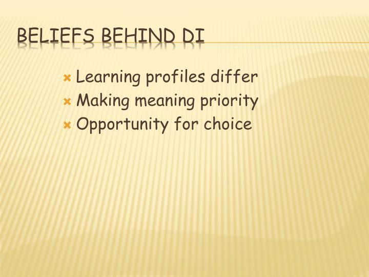 Beliefs Behind DI