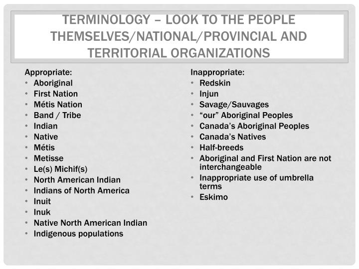 Terminology – Look to the people themselves/National/provincial and territorial organizations