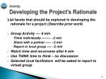 activity developing the project s rationale