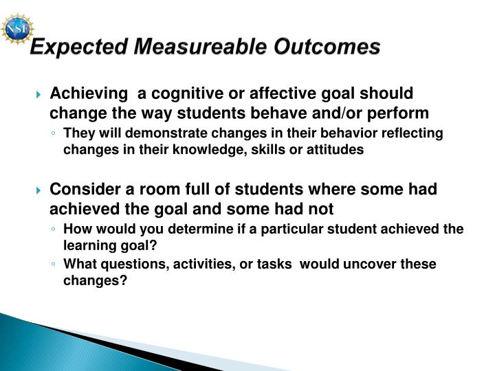 Expected Measureable Outcomes