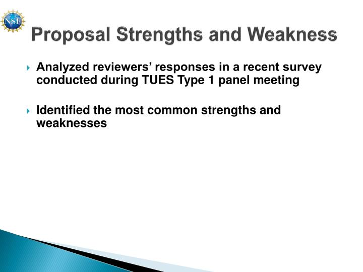 Proposal Strengths and Weakness
