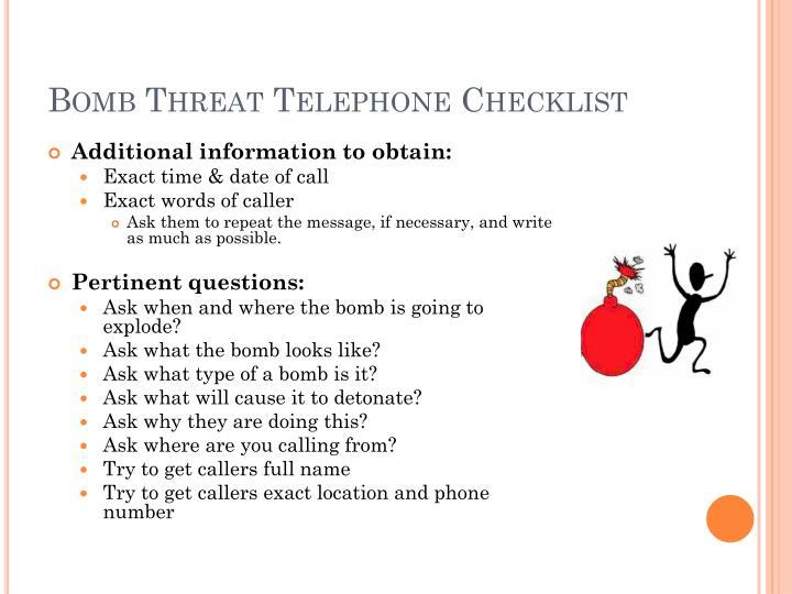 Bomb Threat Telephone Checklist