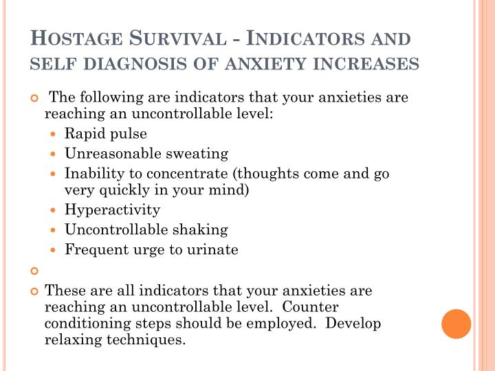 Hostage Survival - Indicators and self diagnosis of anxiety increases