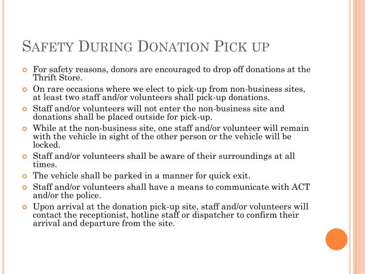 Safety During Donation Pick up