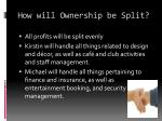 how will ownership be split