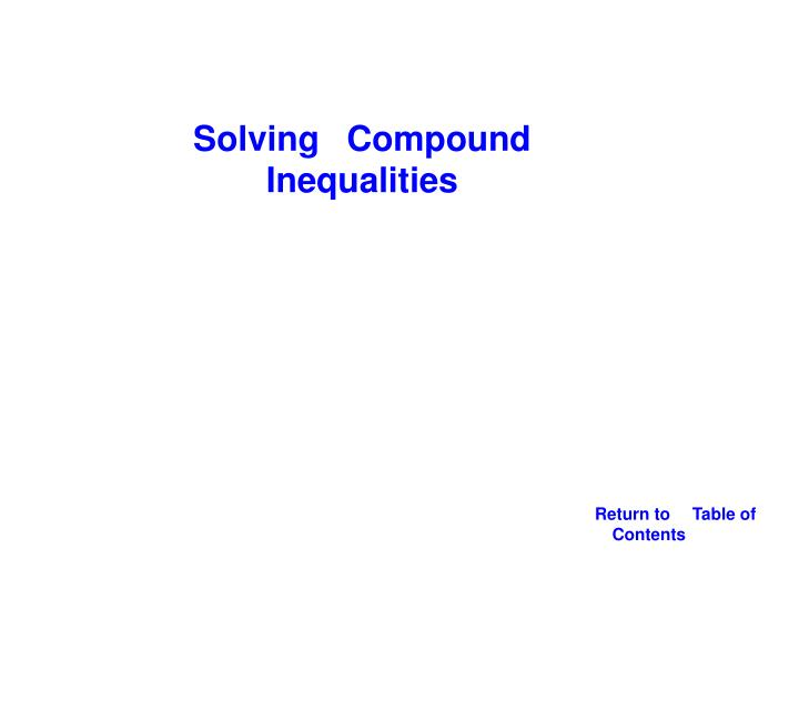 Solving Compound