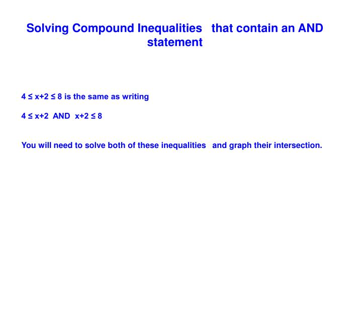 Solving Compound Inequalities that contain an AND statement
