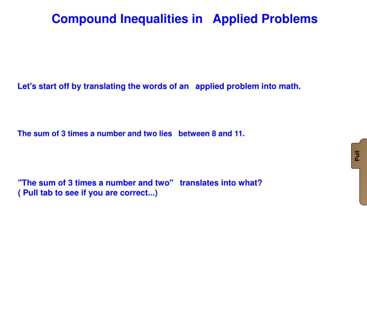 Compound Inequalities in Applied Problems