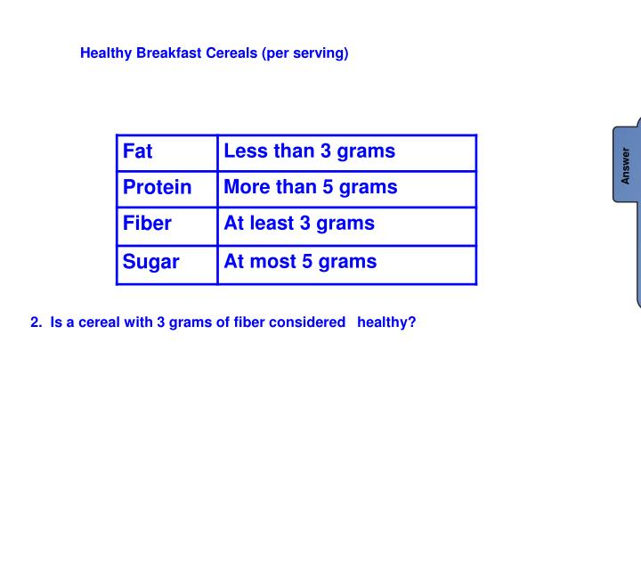 Healthy Breakfast Cereals (per serving)