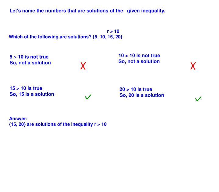 Let's name the numbers that are solutions of the given inequality.