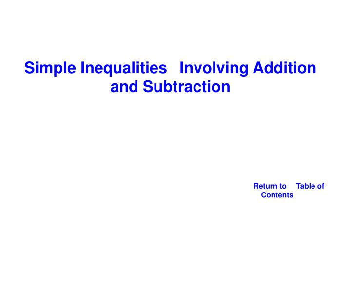 Simple Inequalities Involving Addition