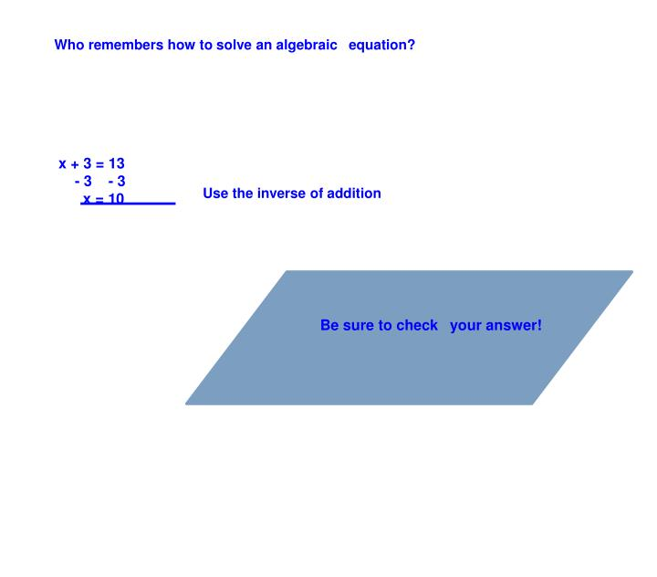 Who remembers how to solve an algebraic equation?