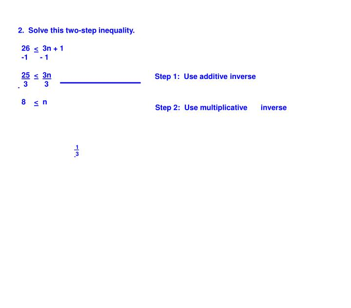 2.  Solve this two-step inequality.
