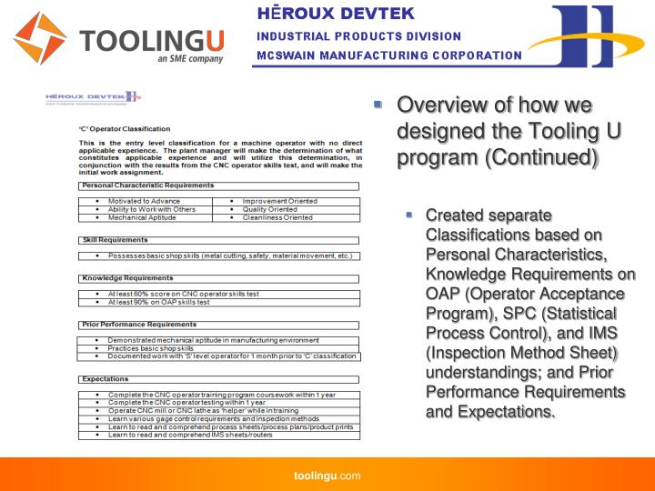 Overview of how we designed the Tooling U program (Continued)