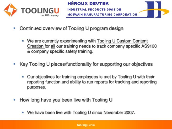 Continued overview of Tooling U program design