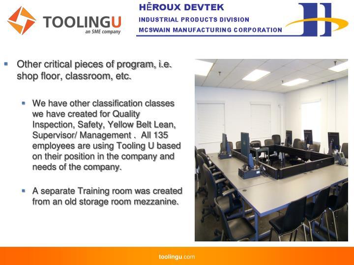 Other critical pieces of program, i.e. shop floor, classroom, etc.