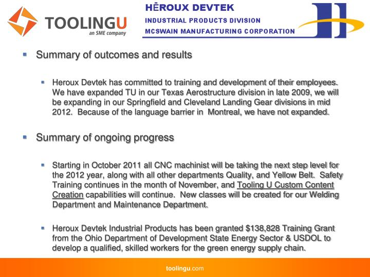 Summary of outcomes and results