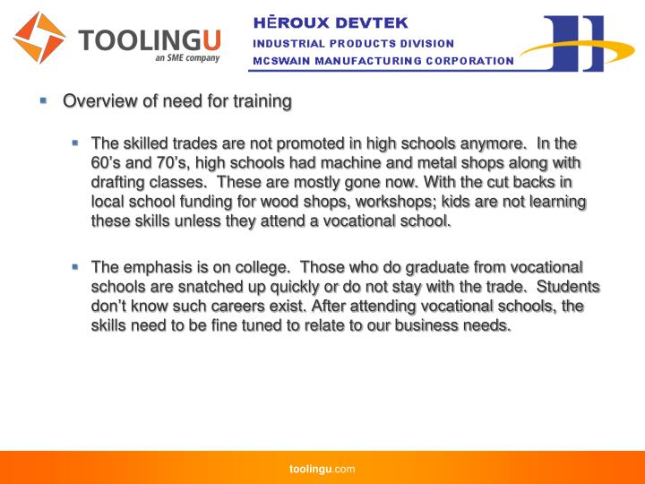 Overview of need for training