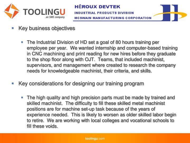 Key business objectives