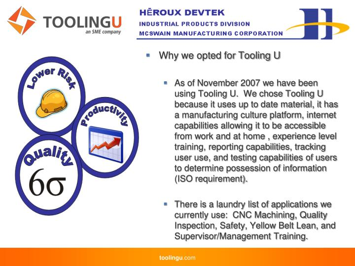 Why we opted for Tooling U