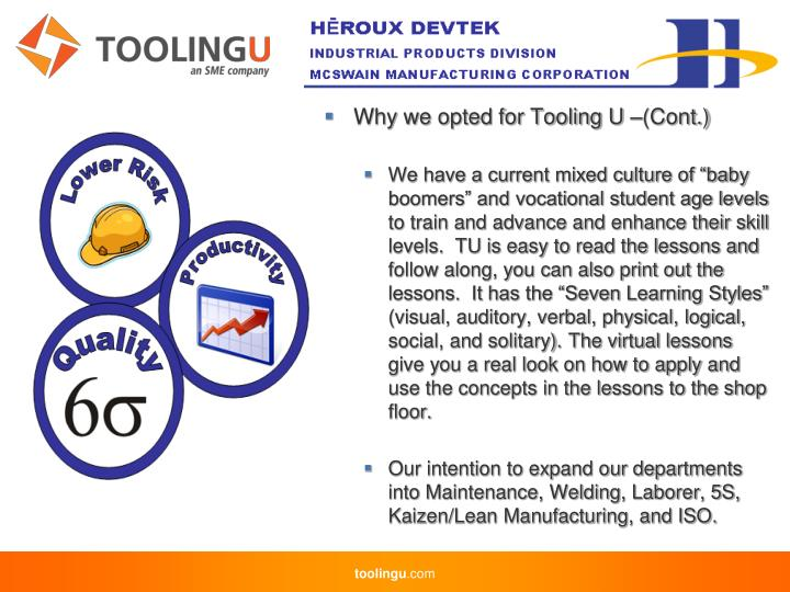 Why we opted for Tooling U –(Cont.)