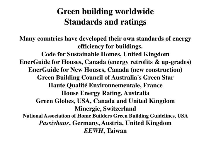 Green building worldwide