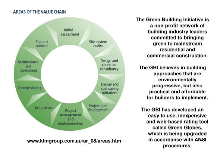 The Green Building Initiative is a non-profit network of building industry leaders committed to bringing green to mainstream residential and commercial construction.