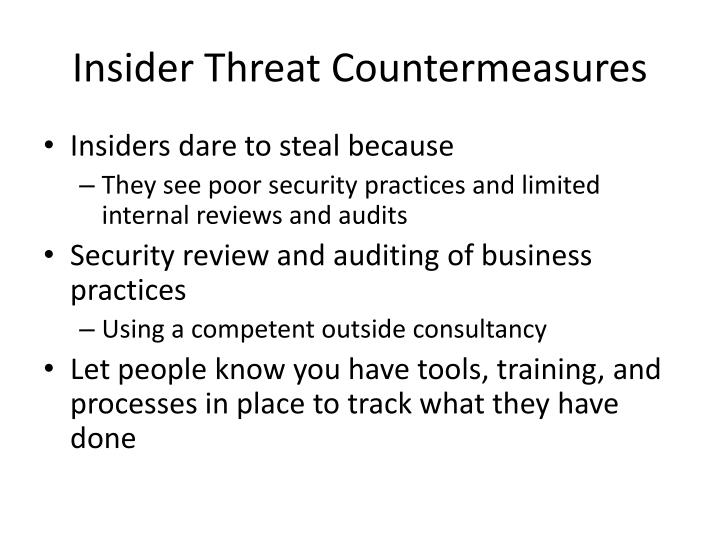 Insider Threat Countermeasures