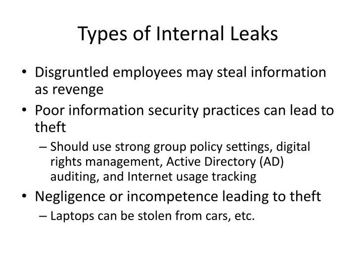 Types of Internal Leaks