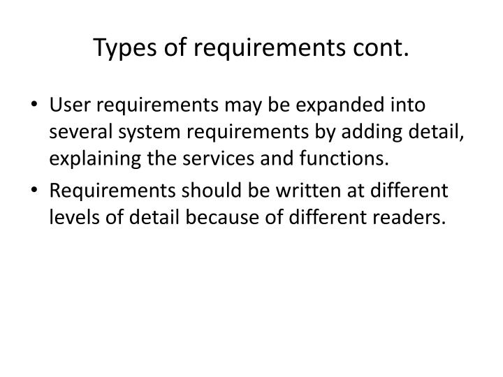 Types of requirements cont.