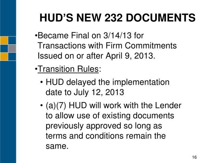 HUD'S NEW 232 DOCUMENTS
