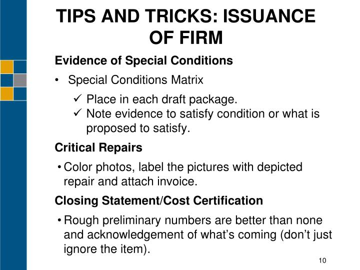 TIPS AND TRICKS: ISSUANCE