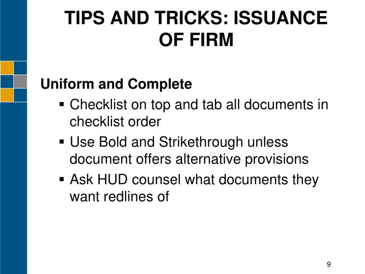 TIPS AND TRICKS: ISSUANCE OF FIRM