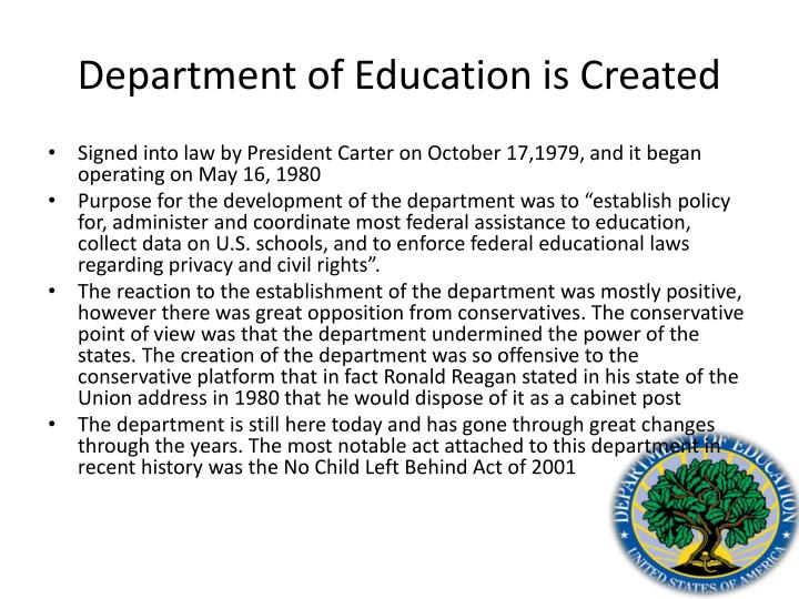 Department of Education is Created