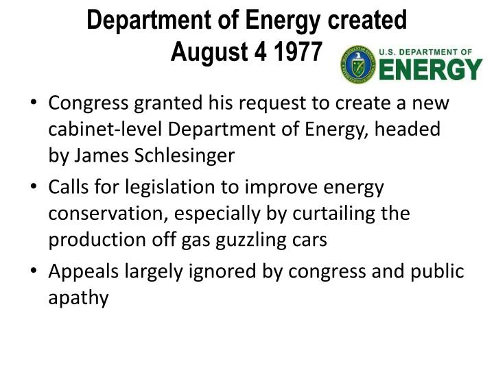 Department of Energy created