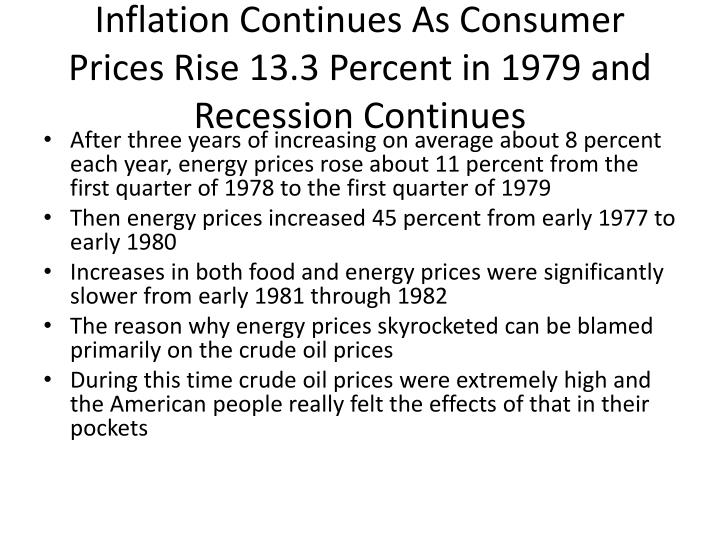 Inflation Continues As Consumer Prices Rise 13.3 Percent in 1979 and Recession Continues
