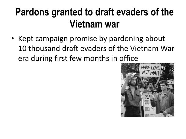 Pardons granted to draft evaders of the Vietnam war
