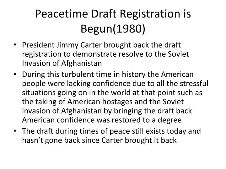 Peacetime Draft Registration is Begun(1980)