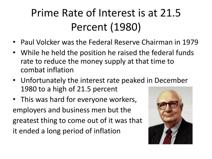 Prime Rate of Interest is at 21.5 Percent (1980)