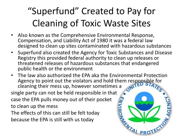 """Superfund"" Created to Pay for Cleaning of Toxic Waste Sites"