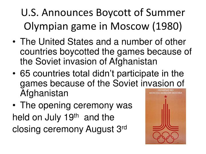 U.S. Announces Boycott of Summer Olympian game in Moscow (1980)